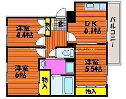 岡山県岡山市中区四御神の賃貸マンションの間取り