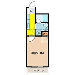 近鉄名古屋線 江戸橋駅 徒歩15分の賃貸マンション 2階1Kの間取り