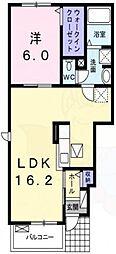 阪急千里線 南千里駅 バス7分 亥子谷下車 徒歩8分の賃貸アパート 1階1LDKの間取り
