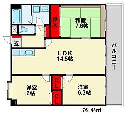 キャッスル32[6階]の間取り