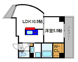 パルティール六甲 6階1LDKの間取り