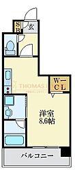 LANDIC K2620 11階ワンルームの間取り