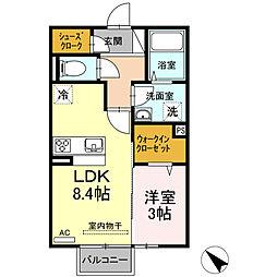 (仮)D-room西本町 B棟[202号室]の間取り