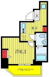 ランヴィ文京千駄木 4階1Kの間取り