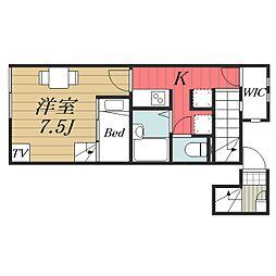 京成本線 京成成田駅 バス20分 宮下下車 徒歩4分の賃貸アパート 2階1Kの間取り