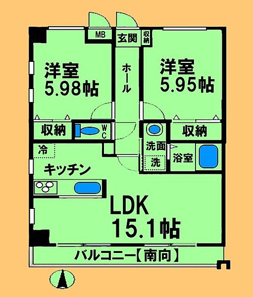 東京都八王子市七国1丁目の賃貸マンションの間取り