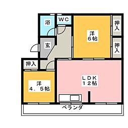 高木グリーンハイツ[4階]の間取り