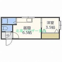 北海道札幌市東区北十八条東12丁目の賃貸アパートの間取り