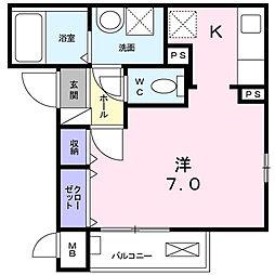 神奈川県横浜市神奈川区大口通の賃貸アパートの間取り