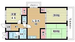 大阪府豊中市春日町2丁目の賃貸マンションの間取り