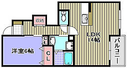 ミゾノカワB棟[105号室]の間取り