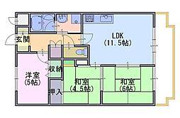 ライオンズマンション桂川久世[4階]の間取り