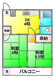 サンハウス竹田[202号室]の間取り