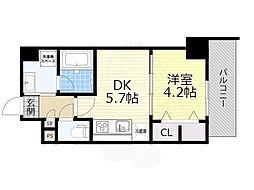 JR東海道・山陽本線 吹田駅 徒歩5分の賃貸マンション 6階1DKの間取り