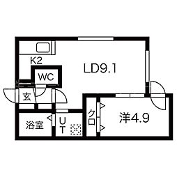札幌市営東西線 円山公園駅 徒歩13分の賃貸マンション 2階1LDKの間取り