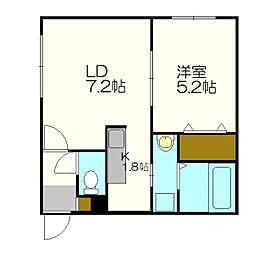 ラティール新札幌[2階]の間取り