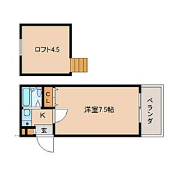 奈良県生駒市谷田町の賃貸アパートの間取り