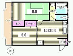 東京都八王子市大和田町6丁目の賃貸マンションの間取り