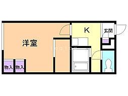 レオパレス三田B館 2階1Kの間取り