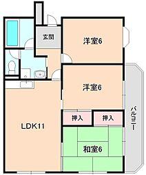 ベルヴュー赤坂[305号室]の間取り