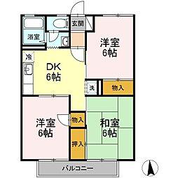 セジュール華仙[3階]の間取り