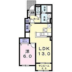 JR身延線 常永駅 徒歩22分の賃貸アパート 1階1LDKの間取り