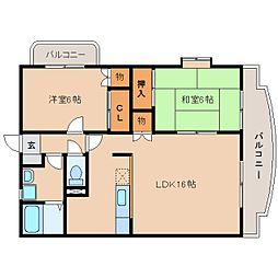 静岡県藤枝市南駿河台の賃貸マンションの間取り