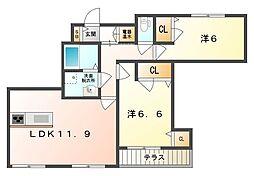 大阪府守口市本町2丁目の賃貸マンションの間取り