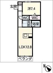 仮)JA賃貸豊田市三軒町 2階1SLDKの間取り