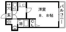 プレサンス谷町九丁目駅前 14階1Kの間取り