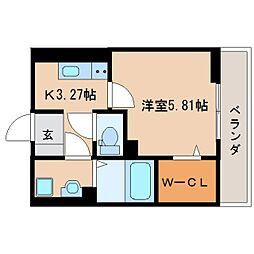 JR東海道本線 草薙駅 徒歩13分の賃貸アパート 1階1Kの間取り