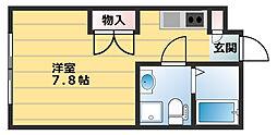 Nakano Terrace 2階ワンルームの間取り