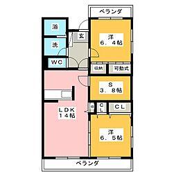 静岡県静岡市清水区船越南町の賃貸マンションの間取り