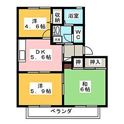 リバティKAZUII C[1階]の間取り
