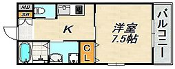 コーム須磨 2階1Kの間取り