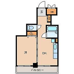 阪神本線 尼崎センタープール前駅 徒歩10分の賃貸マンション 2階1DKの間取り