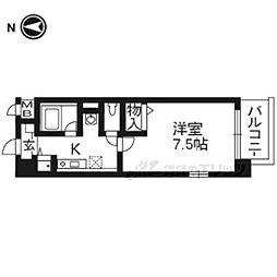 近鉄京都線 小倉駅 徒歩4分の賃貸マンション 1階1Kの間取り