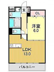 ラビア背戸口[2O2号室号室]の間取り