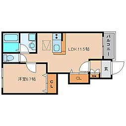JR和歌山線 北宇智駅 徒歩5分の賃貸アパート 1階1LDKの間取り