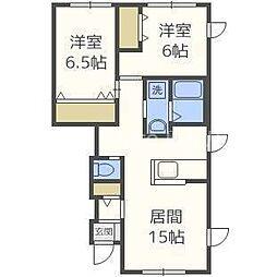 札幌市営南北線 麻生駅 バス15分 篠路5-1下車 徒歩5分の賃貸アパート 1階2LDKの間取り