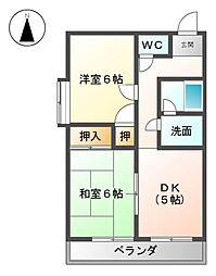 愛知県清須市清洲1丁目の賃貸マンションの間取り