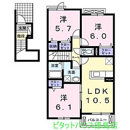 ナイト B[2階]の間取り