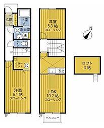 JR横浜線 成瀬駅 徒歩13分の賃貸テラスハウス 1階2LDKの間取り
