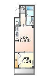 堺市堺区中三国ヶ丘町賃貸マンション新築 3階1LDKの間取り