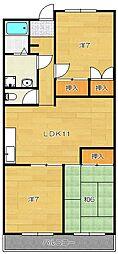 大阪府茨木市新堂1丁目の賃貸マンションの間取り