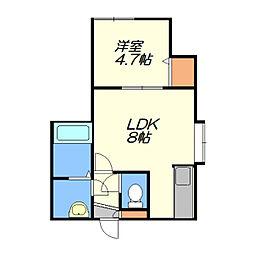 北海道札幌市厚別区厚別中央三条3丁目の賃貸アパートの間取り