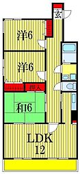 千葉県船橋市前原西8丁目の賃貸マンションの間取り