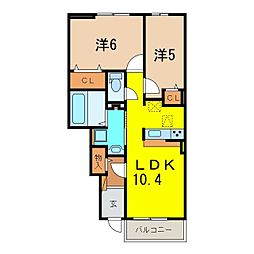 ラディアントB[102号室]の間取り