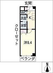レインボーハイム 3階1Kの間取り