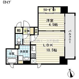 大阪府大阪市天王寺区上汐5丁目の賃貸マンションの間取り